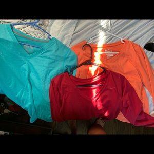 3 Nike Dri-Fit Long Sleeve V-Neck Shirts